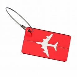 Étiquette bagage aluminium Avion rouge