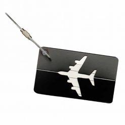 Étiquette bagage aluminium Avion noir