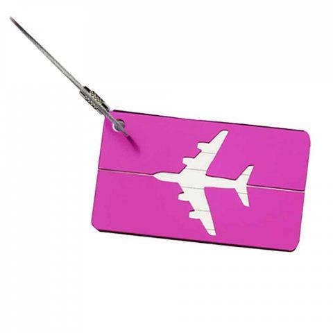 Étiquette bagage aluminium Avion violet