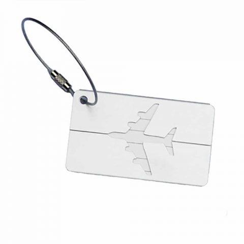 Étiquette bagage aluminium Avion blanc