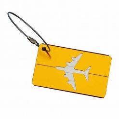 Étiquette bagage aluminium Avion jaune