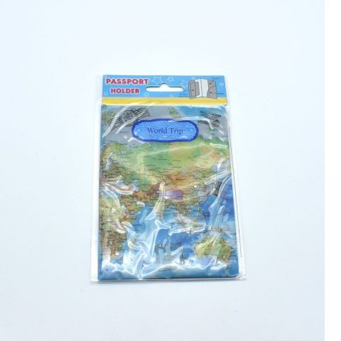 Protège passeport globe trotteur bleu