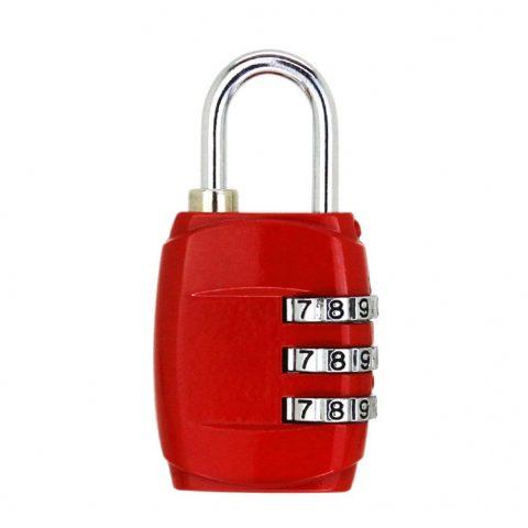 cadenas pour bagages à 3 chiffres rouge