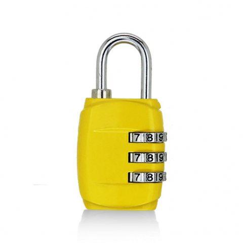 cadenas pour bagages à 3 chiffres jaune