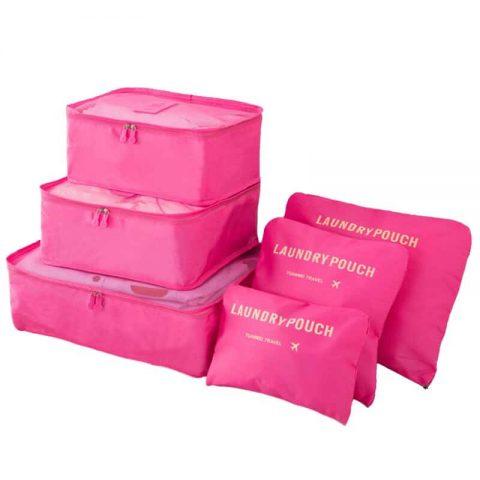 Organisateur de valise 6 pièces fushia