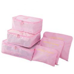 Organisateur de valise 6 pièces rose