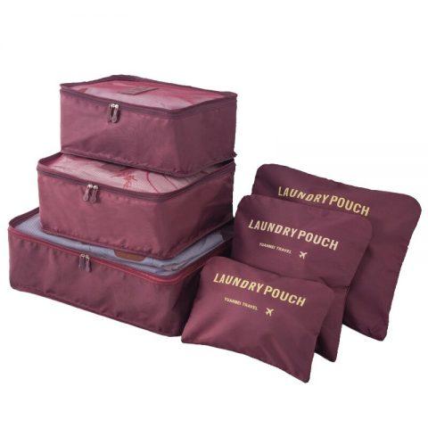 Organisateur de valise 6 pièces pourpre