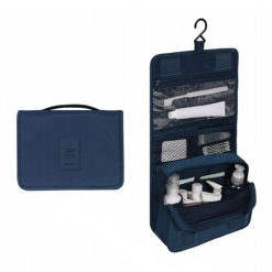 Trousse de toilette pliable à suspendre bleue
