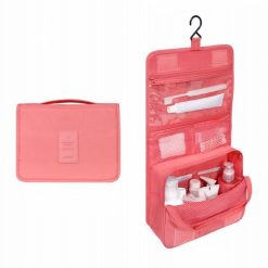 Trousse de toilette pliable à suspendre rose