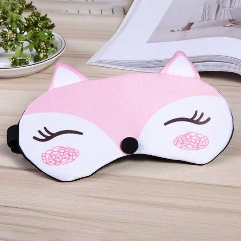 Masque de sommeil renard rose