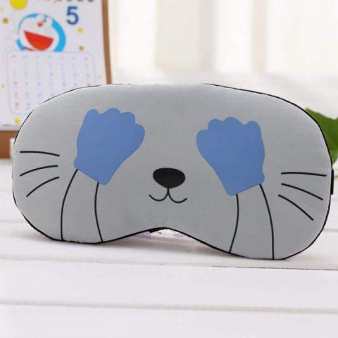 Masque de sommeil I'm a night cat gris