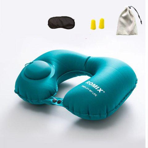 Kit confort voyage oreiller bleu = bouchons d'oreilles + masque de sommeil