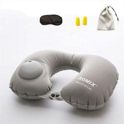 Kit confort voyage oreiller gris + bouchons d'oreilles + masque de sommeil