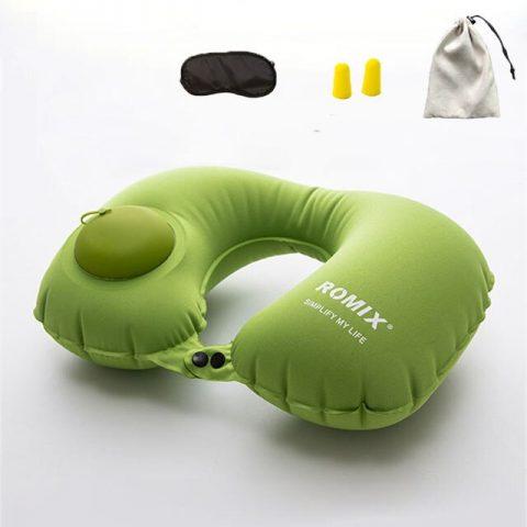 Kit confort voyage oreiller vert + bouchons d'oreilles + masque de sommeil