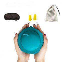 Kit confort voyage oreiller bleu = bouchons d'oreilles + masque de sommeil plié